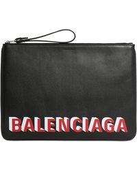 Balenciaga Clutch mit Logo-Print - Schwarz
