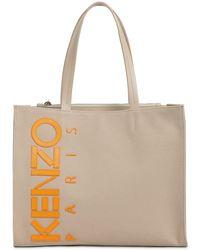 KENZO Borsa Shopping In Tela Di Cotone E Pelle - Neutro