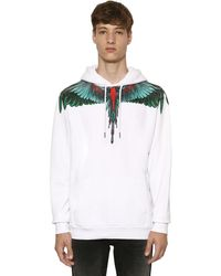 Marcelo Burlon Wings Print Cotton Jersey Hoodie - Grün