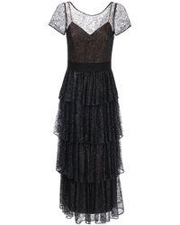 Marchesa notte フリルチュール卯ドレス - ブラック