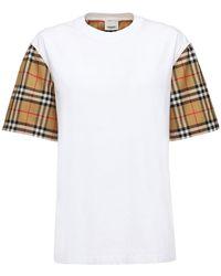 Burberry + Net Sustain T-shirt Aus Baumwoll-jersey Und Karierter Popeline - Weiß