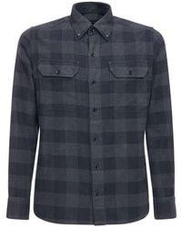 Tom Ford Grand Check Cotton Gingham Leisure Shirt - Blue
