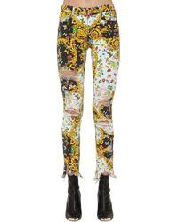 Versace Jeans Archive Print デストロイドスキニージーンズ - イエロー