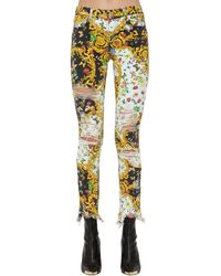 Versace Jeans Archive Print Destroyed Skinny Jeans - Yellow
