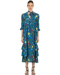 Borgo De Nor Surreal Garden シルククレープドレス - ブルー