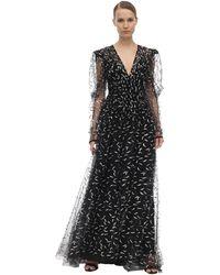 Sandra Mansour Vestido De Tul Con Cuello En V Y Glitter - Negro