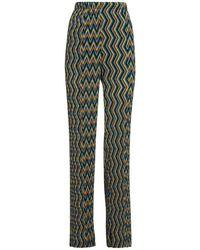 M Missoni Pantaloni Vita Alta Con Pieghe - Multicolore