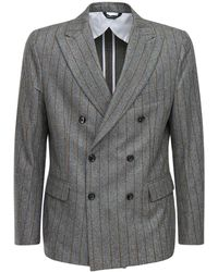 LC23 Double Breasted Pinstripe Wool Blazer - Grey