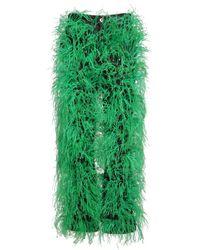 Bottega Veneta Брюки Из Денима С Перьями - Зеленый