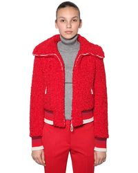 Marco De Vincenzo Faux Shearling Bomber Jacket - Red