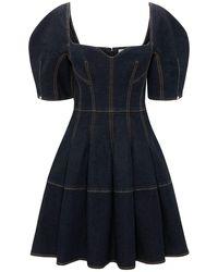 Alexander McQueen Vestido De Denim De Algodón - Azul