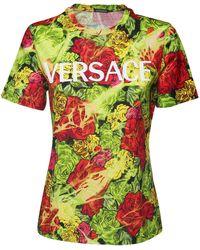 Versace Футболка Из Джерси С Принтом Логотипа - Зеленый