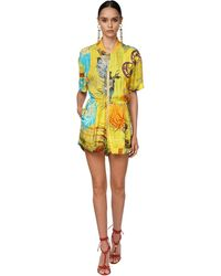 DSquared² Printed Crepe Jumpsuit - Yellow