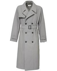 Maison Margiela Zweireihiger Baumwolltrenchcoat - Grau