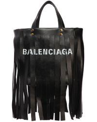 Balenciaga - Small Laundry Leather Tote Bag W/ Fringe - Lyst