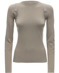 Max Mara Fitted Viscose Knit Top W/ Straps - Natural