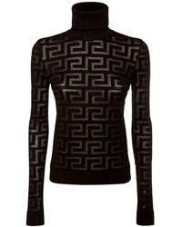 Versace Свитер Из Шерсти И Шелка - Черный