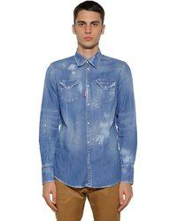 DSquared² Westernhemd Aus Baumwolldenim - Blau