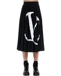 Valentino V Logo Print Pleated Skirt - Black