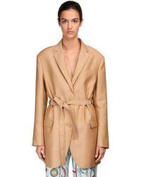 Lanvin Asymmetrische Jacke Aus Wolle Und Seide - Natur