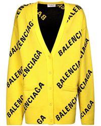 Balenciaga Трикотажный Кардиган Из Хлопка - Желтый