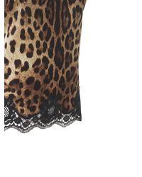 Dolce & Gabbana Leopard ストレッチサテンキャミソールトップ - ブラック