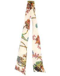 Etro - Floral Printed Silk Twill Scarf - Lyst