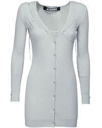 Jacquemus Ribbed Knit Wool Mini Dress - Grey