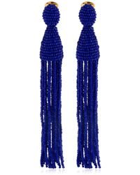 Oscar de la Renta Longues Boucles D'oreilles Avec Perles - Bleu