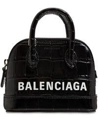 Balenciaga Ville エンボスレザートップハンドルバッグ - ブラック