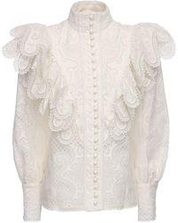 Zimmermann シルク&リネンシャツ - ホワイト