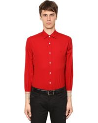 Burberry - Stretch Poplin Shirt W/ Check Details - Lyst