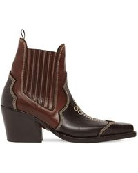 DSquared² Embroidered Leather Ankle Boots - Brown