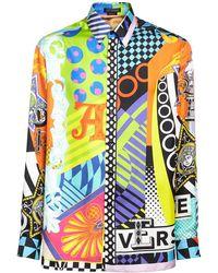 Versace Рубашка Из Шелка С Принтом - Синий