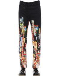 Neil Barrett Jeans De Denim De Algodón Con Estampado 22Cm - Negro