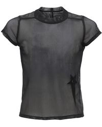 "Rick Owens T-shirt Cropped ""champion"" In Mesh Trasparente - Nero"
