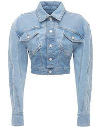 Mugler Jacke Aus Stretch-baumwolldenim - Blau