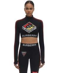 Burberry Logo Graphic Stretch Jersey Cropped Top - Schwarz