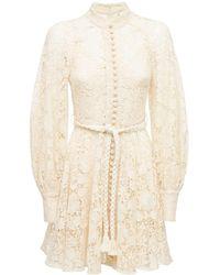 Zimmermann Мини-платье Из Хлопка Cassia - Белый