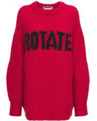 """ROTATE BIRGER CHRISTENSEN Pullover Aus Wollmischung Mit Logo """"brandy"""" - Rot"""