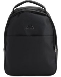Armani Exchange エコサフィアーノレザーバックパック - ブラック