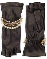 Dolce & Gabbana Mitaines En Cuir Nappa Avec Détail Bracelet - Noir