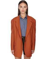 Ferragamo Oversize Backless Wool & Mohair Jacket - オレンジ