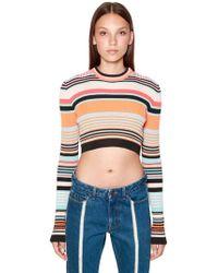 Diesel Black Gold Cropped Viscose Rib Knit Sweater - Orange