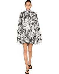 Balenciaga Платье Из Атласа С Принтом - Черный