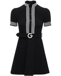 Gucci ベルテッドライトウールクレープミニドレス - ブラック