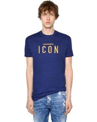 DSquared² - Icon Embroidered Cotton Jersey T-shirt - Lyst