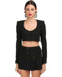 Dolce & Gabbana ウールブレンドクロップドジャケット - ブラック