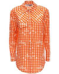 Courreges コットンポプリンシャツ - オレンジ