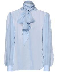 Saint Laurent Блузка Из Шелкового Муслина С Бантом - Синий